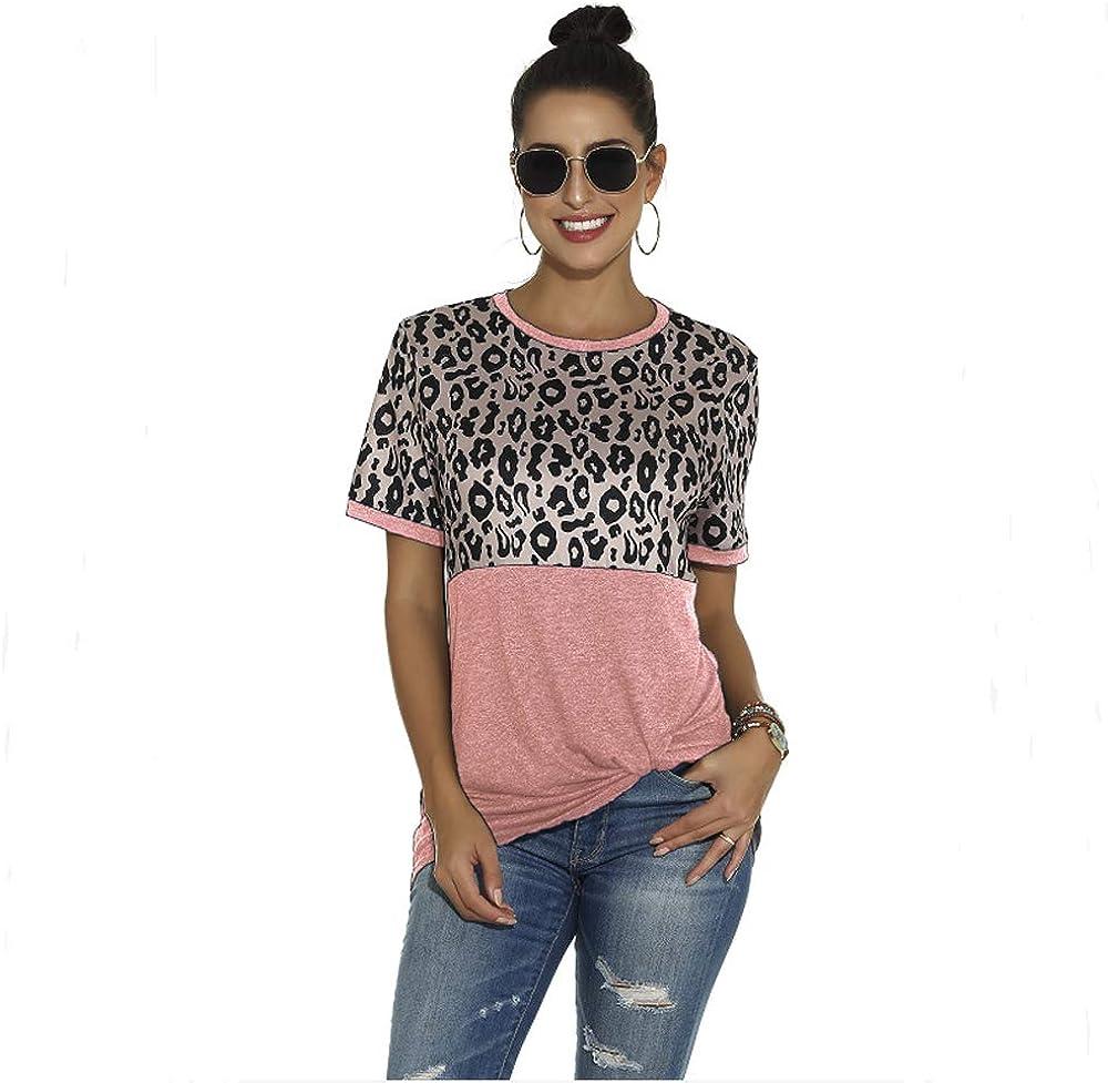 Camiseta De Manga Corta con Estampado De Leopardo Primavera Y Verano para Mujer: Amazon.es: Ropa y accesorios