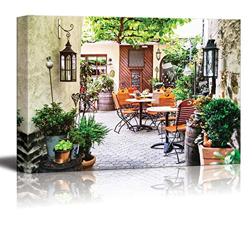 wall26 Canvas Prints Wall Art - Cafe Terrace in Small European City for Cafe Decor | Modern Wall Decor/Home Decoration Stretched Gallery Canvas Wrap Giclee Print. Ready to Hang - 24