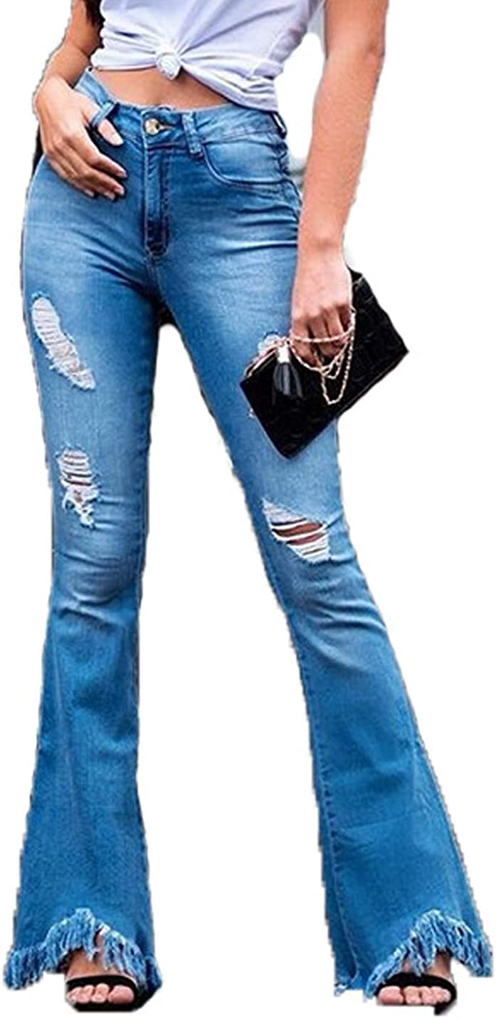 Naliha Pantalones De Mezclilla Rasgados De Talle Alto Casual