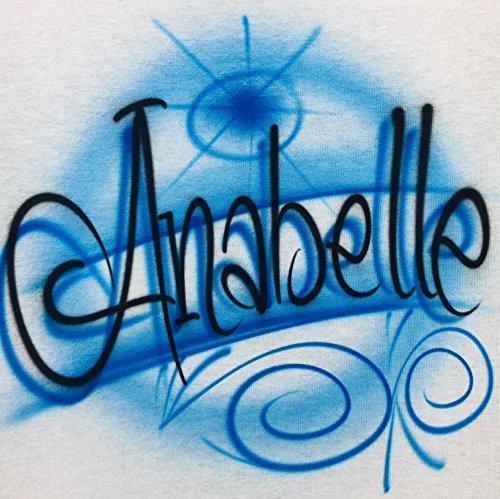 - Airbrush T Shirt, Name Design, Blue Swirls