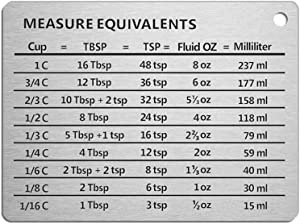 Latauar Magnetic Kitchen Conversion Chart - Measure Conversion Magnet - Professional Measurement Refrigerator Magnet in 18/8 Stainless Steel, Conversions For Cups, Tablespoons, Teaspoons, Fluid Oz and