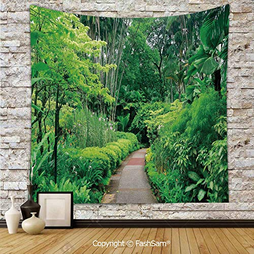 FashSam Polyester Tapestry Wall Green Plants Trees in Singapore Asia Botanic Gardens Walkway Travel Destination Arboretum Hanging Printed Home Decor(W59xL90) -