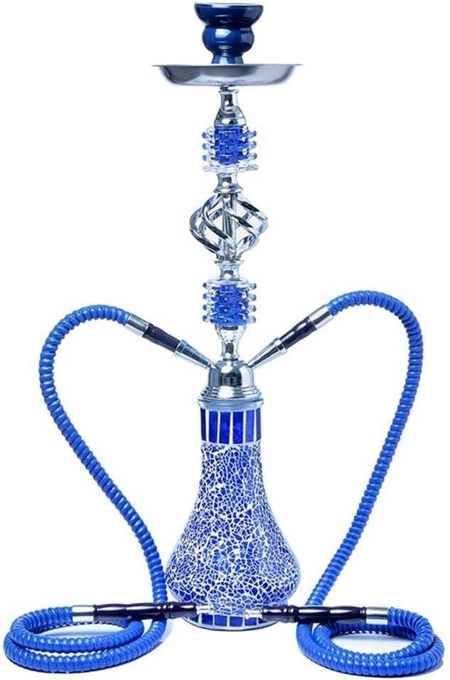Rteanb Arabia Medio de tuberías de Vidrio KTV Bar Hookah Shisha Cachimba Que Fuma Accesorios Hokkah for Shisha cachimba cachimba Conjunto Doble Pipe