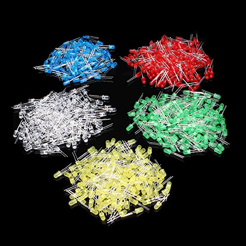 BephaMart 500Pcs 5MM LED Diode Kit Mixed Color Red Green Yellow Blue White Shipped and Sold by BephaMart