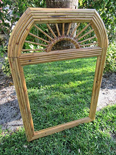 Glass Thick Top 1/2 42 - That's A WRAP/Rattan Leather Wrapped Mirror/Sunburst Mirror/McGuire Style/Split Reed/Boho
