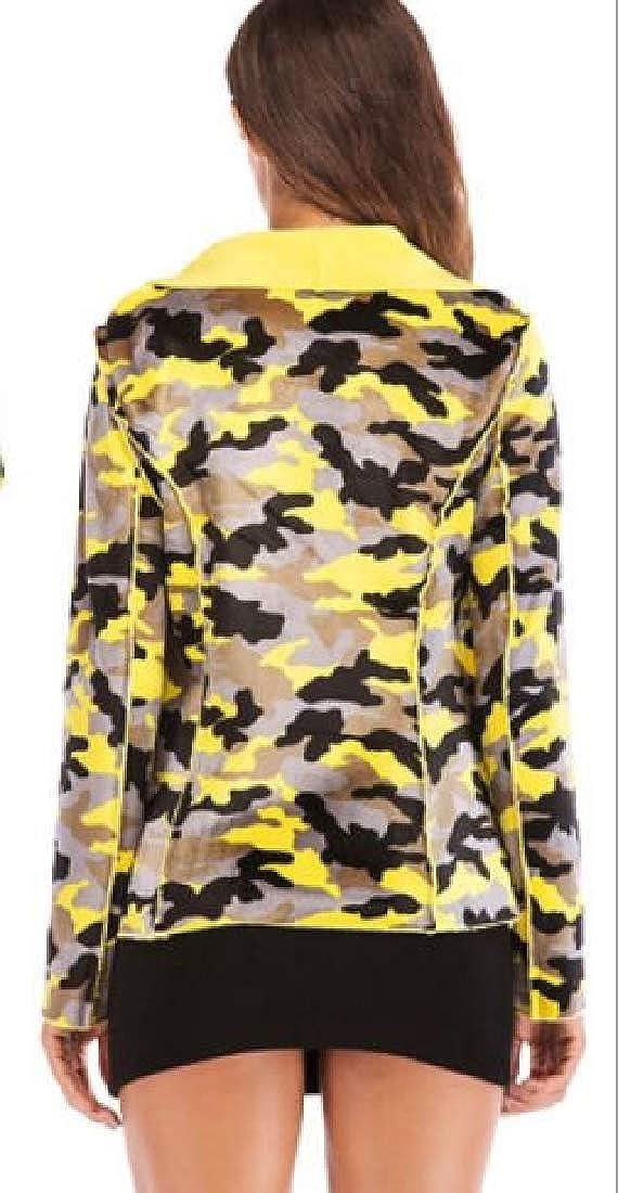M/&S/&W Women Vintage Camo Jacket Long Sleeve Lapel Zipper Coat