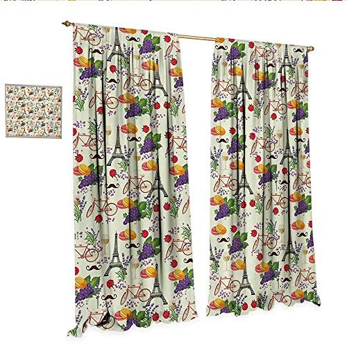European Drapes for Living Room French Themed Paris Must Have Macarons Wines Grapes Bikes Berries Eiffel Art Print Window Curtain Drape W120 x L108 Multicolor.jpg