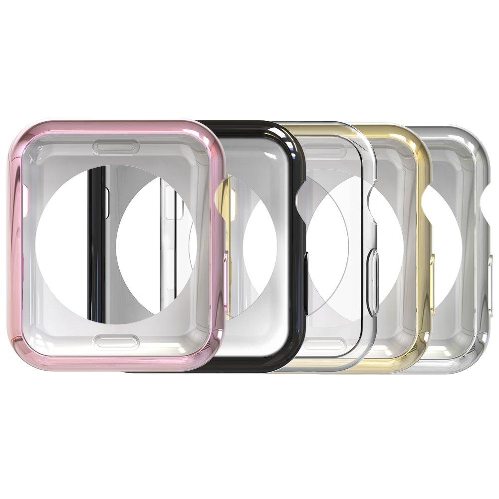 Simpeak Case Frame for Apple Watch 38mm,[5 Packs] Simpeak Slim Scratch Resistant Soft Case for 38mm Apple Watch Series 2,Transparent, Black, Gold, Rose Gold, Silver