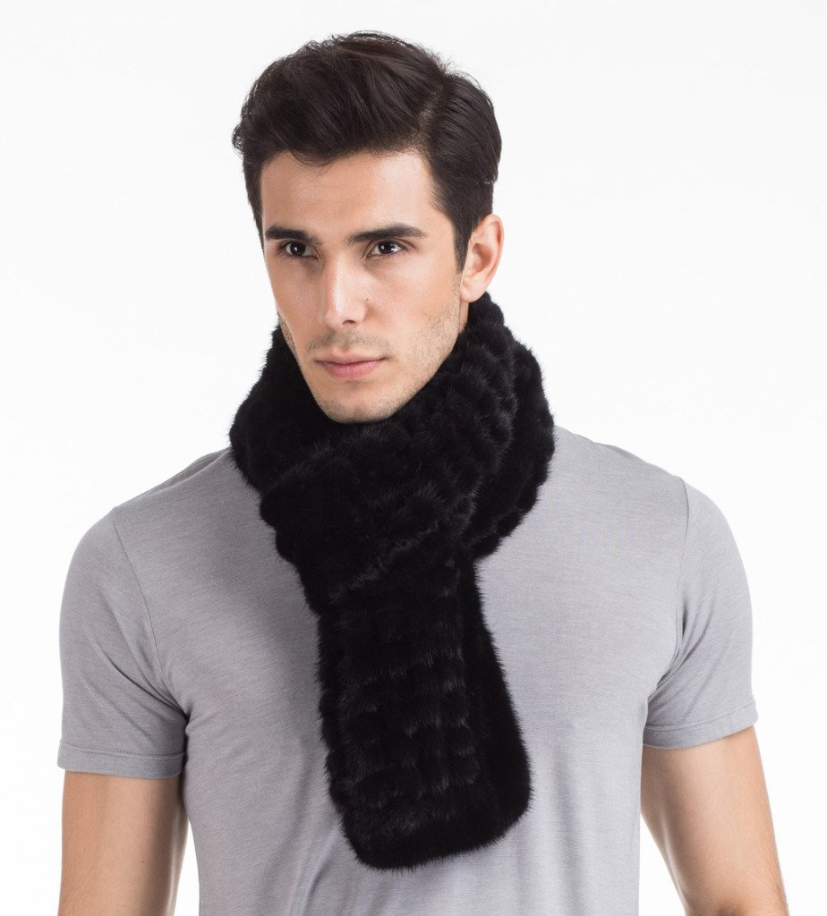 Vogueearth Mens Real Knitted Mink Fur Autumn Winter Long Scarf Black by vogueearth (Image #5)