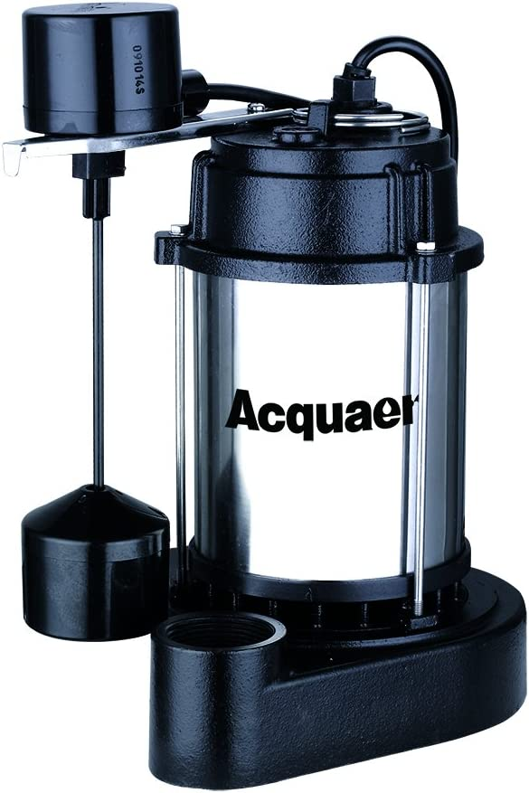 Acquaer 1/2 HP Submersible Sump Pump With Stainless Steel Motor Shell and Cast Iron Pump Base, Model: SUS050-V