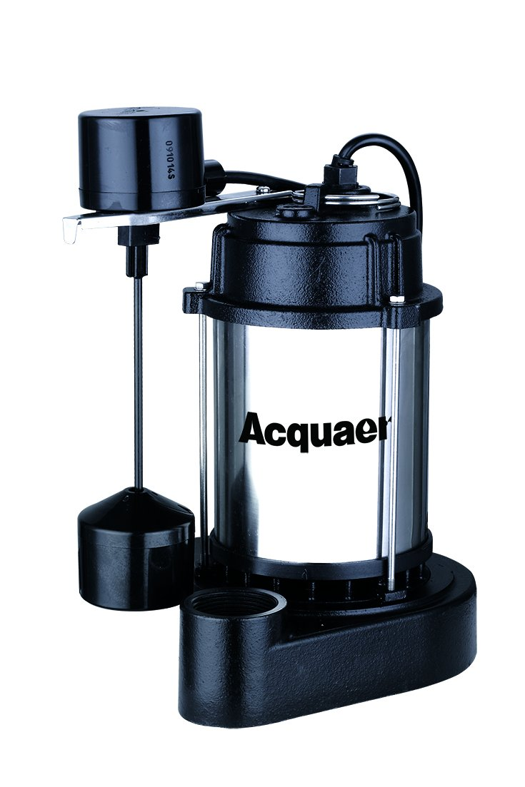 Acquaer 1/3 HP Submersible Sump Pump With Stainless Steel Motor Shell and Cast Iron Pump Base, Model: SUS033-V