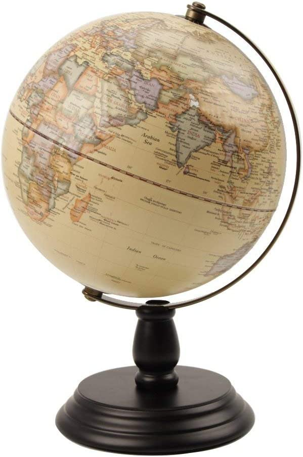 VStoy Vintage Reference World Globe Home Work Decor Wedding Educational Gift (20cmc/7.87 in (Khaki))