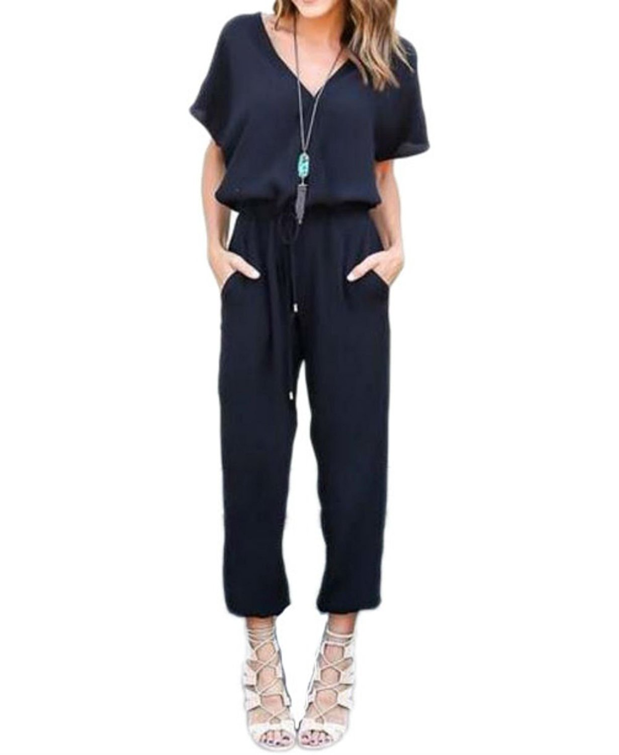 Cinyifaan Women's V Neck Casual Loose Long Jumpsuits Romper Playsuit with Belt,Small,Black