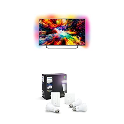 Philips 43PUS6753/12 43-Inch 4K Ultra HD Android Smart TV with 3-sided  Ambilight and Philips Hue White and Colour Ambience Smart E27 Bulb Starter  Kit