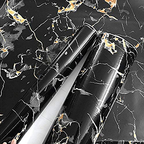 Moyishi Black Granite Look Marble Gloss Film Vinyl Self Adhesive Counter Top Peel and Stick Wall Decal 24''x60''