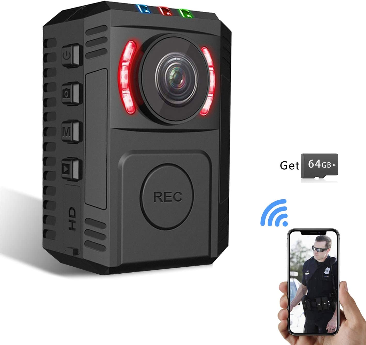 Upgrade Police Body Camera with Night Vision for Law Enforcement HD 1080P Motion Detection Body Worn Camera Mini Spy Portable Body Camera with 64GB Memory Card Security Personal Camera with Phone App