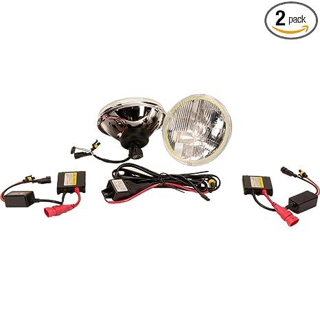 "A H6024 Head Light Glass Housing Lamp Classic Conversion Chrome 7/"" Round PAIR"