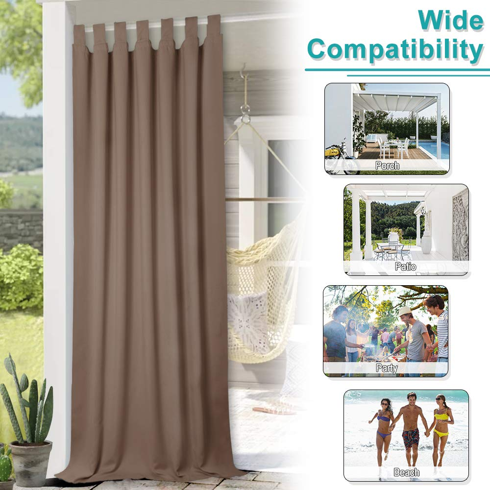 NICETOWN Outdoor Curtain Panel for Patio, Thermal Insulated Tab Top Blackout Indoor Outdoor Curtain/Drape for Living Room (1 Panel,52 by 84-Inch, Tan-Khaki) by NICETOWN (Image #6)