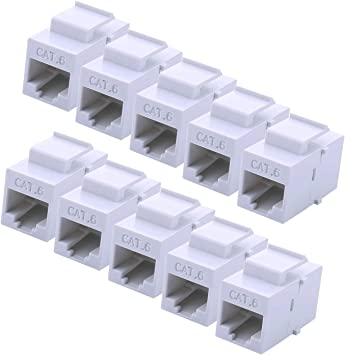 10 pack CAT5e Inline Keystone Jack White Coupler Type CAT5 RJ45