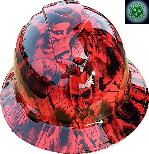Wet Works Imaging Customized Pyramex Full Brim HYDRO DIPPED RED SINISTER JOKER HARD HAT With Ratcheting Suspension