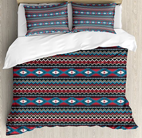 Ambesonne Antique Duvet Cover Set, Primitive Style Folkloric Striped Design Antique Mayan Patterns, Decorative 3 Piece Bedding Set with 2 Pillow Shams, Queen Size, Black Coral ()