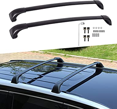Amazon Com Partol Roof Rack Cross Bars For Toyota Highlander Le 2014 2015 2016 2017 2018 2019 Aluminum Roof Top Rail Carries Luggage Cargo Carrier For Snowboard Kayak Canoe Bike Black Automotive