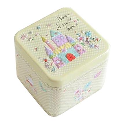 Adorable 3d alivio cuadrado Candy lata caja de galletas caja de regalo té Almacenamiento Caja De
