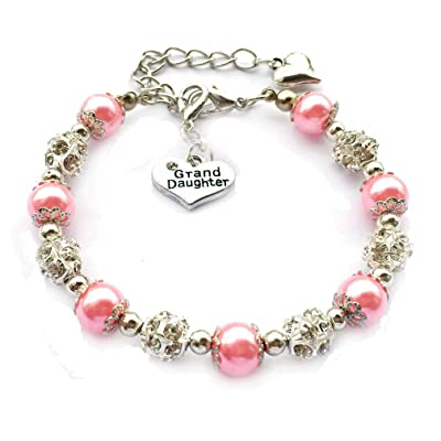 DOLON Fuchsia Faux Pearl Bracelet Gift for Granddaughter: Jewelry