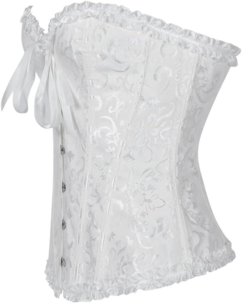 xcylive Womens Plus Size Overbust Corset Lace Up Waist Cincher Bustier Tops