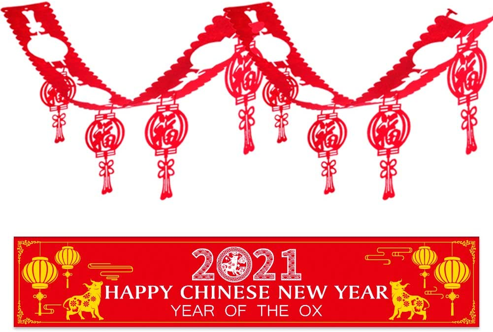 XJF Chinese New Year Banner,2021 Year of the OX Party Decorations,New Year Banner and Luck Lantern Hanging Garland