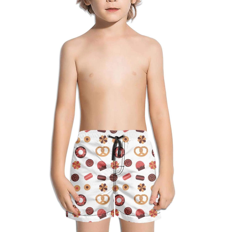 Etstk Pretzel AMD Coffee Bean Kids Durable Swim Trunks for Men