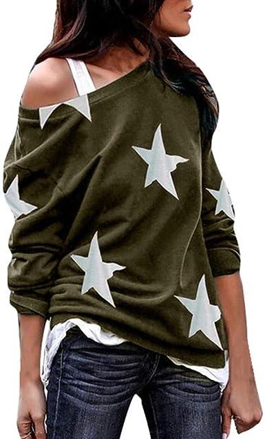 JiaMeng Primavera Otoño Blusa de Las Mujeres Manga Larga Estampado de Estrellas Hombro Más tamaño Camisas Sueltas Blusas Casuales De Hombro Frío Blusas: Amazon.es: Ropa y accesorios