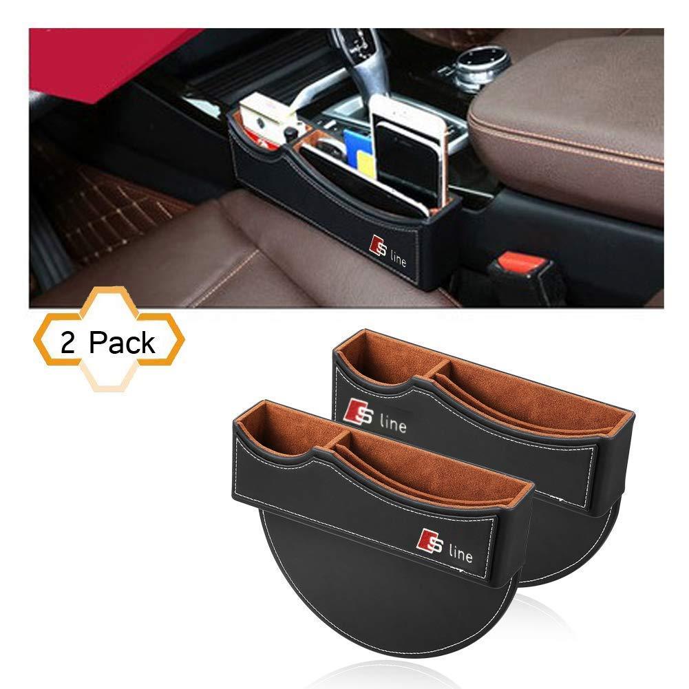Car Seat Storage Box for Audi sline 2 Pack AUTO-P Car Seat Gap Filler Premium PU Full Leather Seat Console Organizer