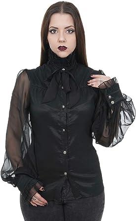 Pentagrama Camisa Satinado con Cuello Alto y Manga Transparentes Elegant gótica Negro Small: Amazon.es: Ropa y accesorios