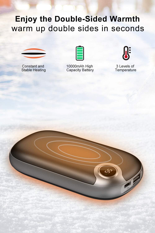 Regalo de Invierno Cazar Golf Campamento A ADDTOP Calentadores de Manos Recargables 10000mAh USB Calentador Manos con Pantalla LCD Calentadores de Manos El/éctrico Reutilizable para Esquiar
