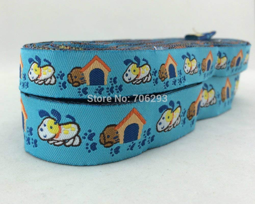 1 Pc 2014 New Wholesale 5 8  +7 8  (16mm+22mm 20y Lots) Polyester bluee Dog Woven Jacquard Ribbon for Dog Collar