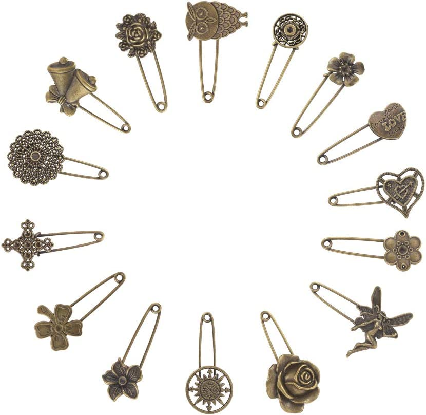 NBEADS 15 Pcs Retro Mixed Shaped Vintage Alloy Safety Brooch Pins, Mixed Sizes Decorative Hijab Pins Safety Steampunk Findings for Sweater Scarf Cloth Garment Bag Hat Cardigan Decor