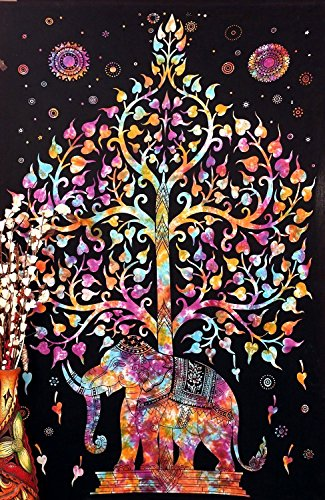 Bless International Indian Hippie Bohemian Psychedelic Tie Dye Tree of Life Elephant Wall Hanging Twin Size Boho Tapestry
