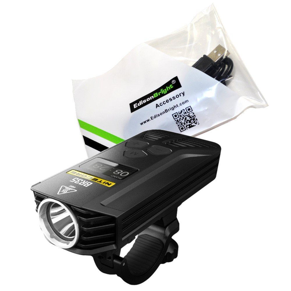 EdisonBright Nitecore BR35 1800 lumen Dual Distance Beam 2 X Cree XM-L2 U2 LED USB rechargeable Bike Bicycle Light, rechargeable battery with USB cable bundle
