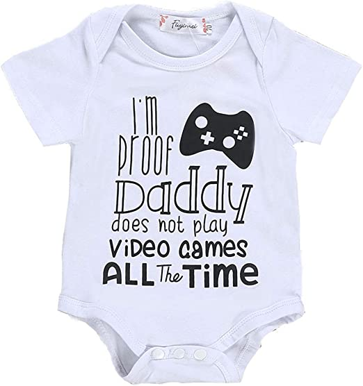 Cute Babies Bodysuit Clothing Daddy/'s Little Gamer Baby Grow
