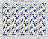 asddcdfdd Islamic Tapestry, Abstract Geometrical Shapes and Stars Pattern Ethnic Celestial, Wall Hanging for Bedroom Living Room Dorm, 80WX60L Inches, Dark Blue Light Blue Apricot