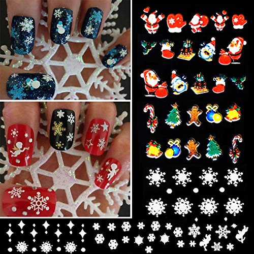 12 Sheets 3D Nail Art Sticker Decal Design Self-adhesive Tips Decoration, Christmas Snowflake Tree Deer