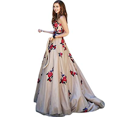 Beautydress A-line Long Embroidery Prom Dress Floral Evening Party Gown BP008