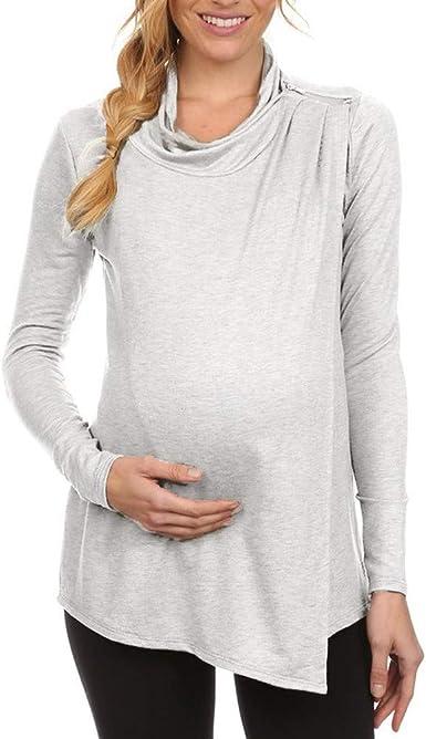 Ropa premamá Mujeres Lactancia Talla Grande Blusa de Maternidad Tops De Enfermería Camisa De Manga Larga Embarazadas Cuidado de Doble Capa Gusspower: Amazon.es: Ropa y accesorios