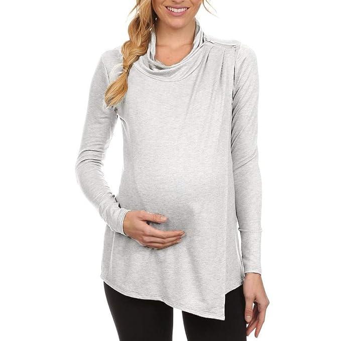7339a8d15 Ropa premamá Mujeres Lactancia Talla Grande Blusa de Maternidad Tops De  Enfermería Camisa De Manga Larga Embarazadas Cuidado de Doble Capa  Gusspower  ...