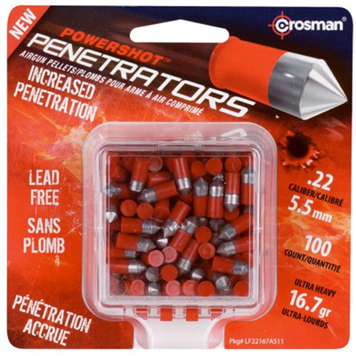 Crosman Air Guns LF22167 Penetrator .22 Caliber Pellets, Lead-Free, 100-Ct.