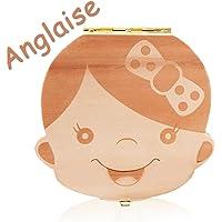 Leisial Boîte Dents de lait pour Bébé Dents de lait Rangement Enregistrer Cadeaux Boîte en Bois pour Enfants Garçon et Fille Version anglaise