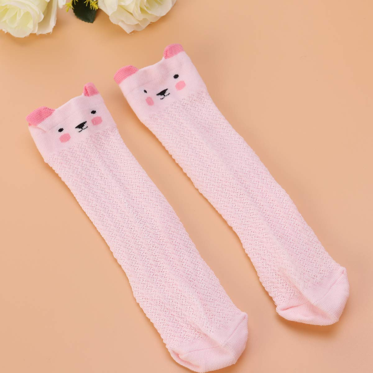 Pink cat Pattern TENDYCOCO Kid Long mesh Stockings Baby Summer Thin Socks Breathable Knee high Stockings for 0-1 Years Old Kid Baby Toddler S Size