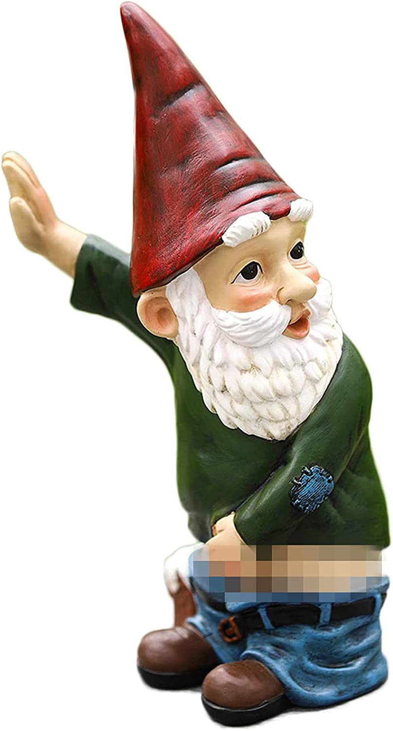 JHWKJS Naughty Garden Gnome Statue Funny Gnome Garden Decoration 10.3 Inch Tall Indoor Outdoor Lawn Figurines for Home Yard Décor