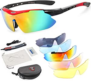 OBAOLAY Polarized Sports Sunglasses UV400 with 5 Interchangeable Lenses for Mens Womens Baseball Driving Fishing Golf Running Cycling Glasses